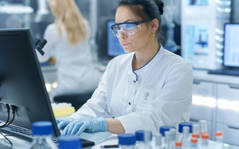 Female scientist working in lab