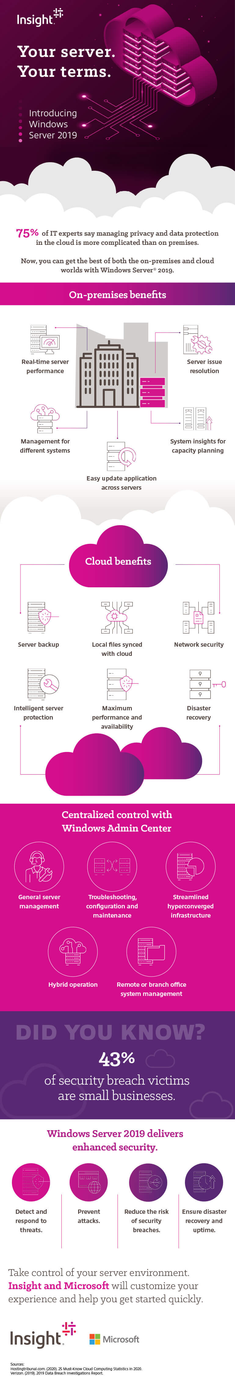 Your Server Your Way: Windows Server 2019 infographic as transcribed below