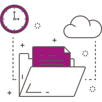 Illustrated icon of a file folder with a cloud next to it