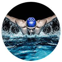 Professional swimmer in cap does laps