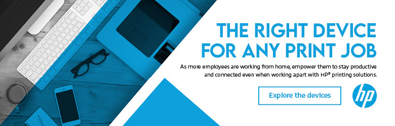 Ad: HP. The Right Device for Any Print Job. Learn more