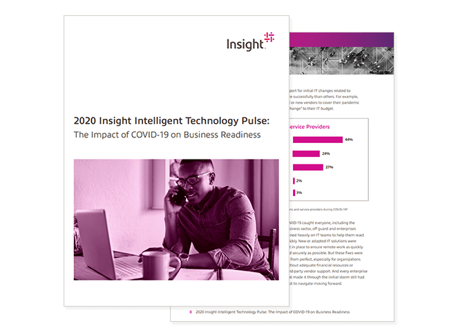 Cover of Insight Intelligent Technology Pulse report available to download by registering today. Business readiness, business continuity planning, impact of COVID-19 on business, impact of COVID-19 on IT
